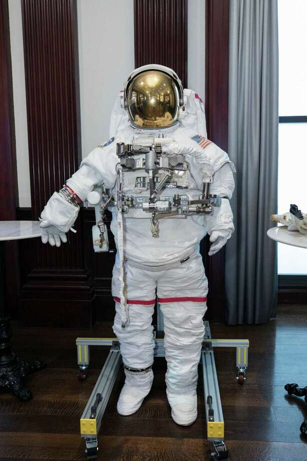 Houston information technology company KBR has recently landed contracts to help NASA return to the Moon and put a man on Mars. The company also designed an made a space suit for use by astronauts. The suit was displayed at the company's Friday, May 3, 2019 investors day in New York City where CEO Stuart Bradie spoke about the the company's pivot away from construction and oil & gas projects to information technology and government services. Photo: Courtesy Photo, Photographer / KBR / Copyrighted