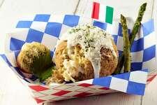 Southern fried chicken fettuccine Alfredo ball