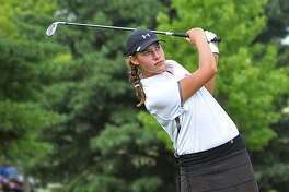 Edwardsville freshman Jessica Collins watches her tee shot on Hole No. 8 on Friday at the Prep Tour Showcase in Forsyth.