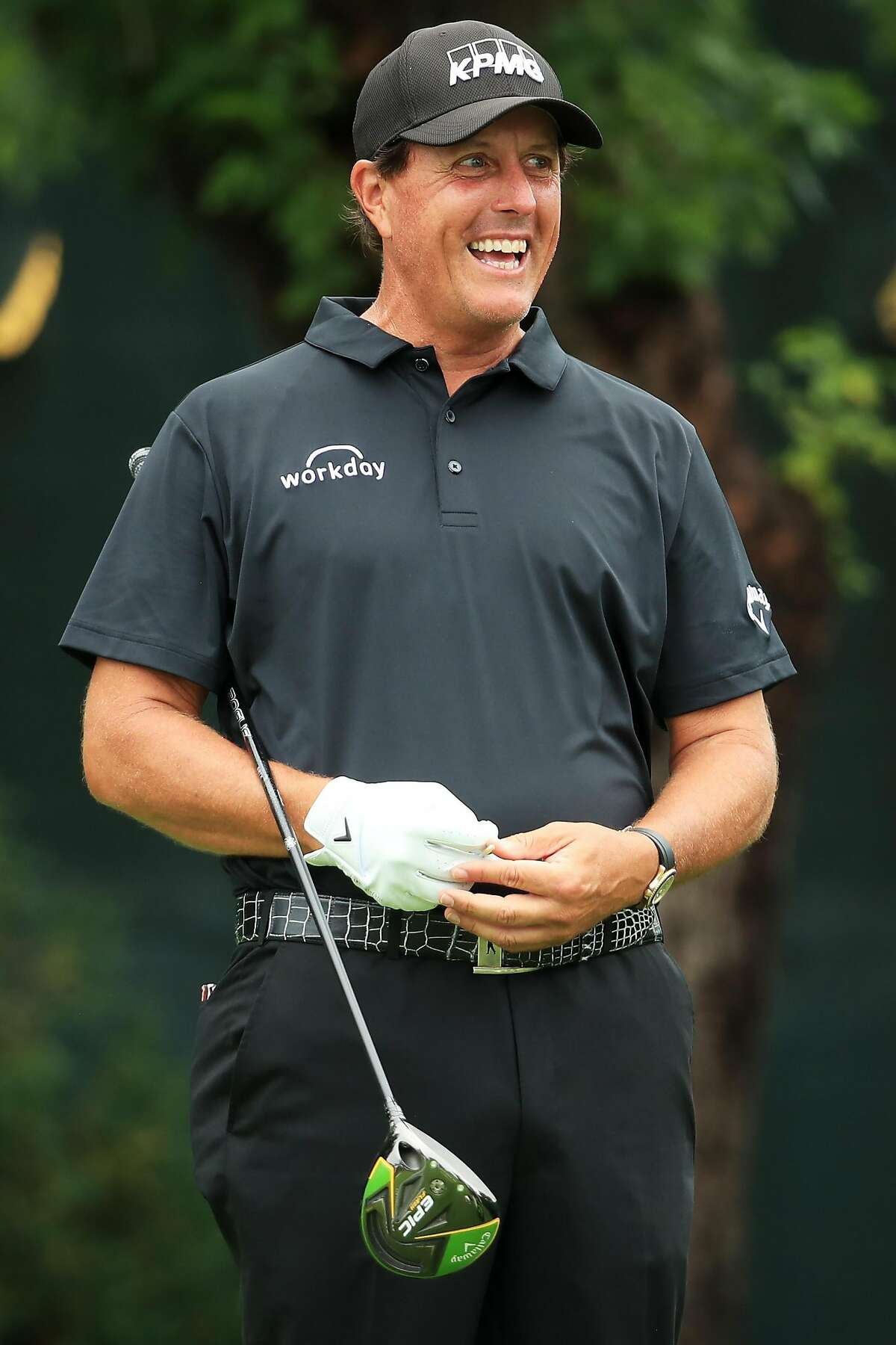 MEDINAH, ILLINOIS - AUGUST 18: Phil Mickelson of the United States prepares to play from the tenth tee during the final round of the BMW Championship at Medinah Country Club No. 3 on August 18, 2019 in Medinah, Illinois. (Photo by Andrew Redington/Getty Images)