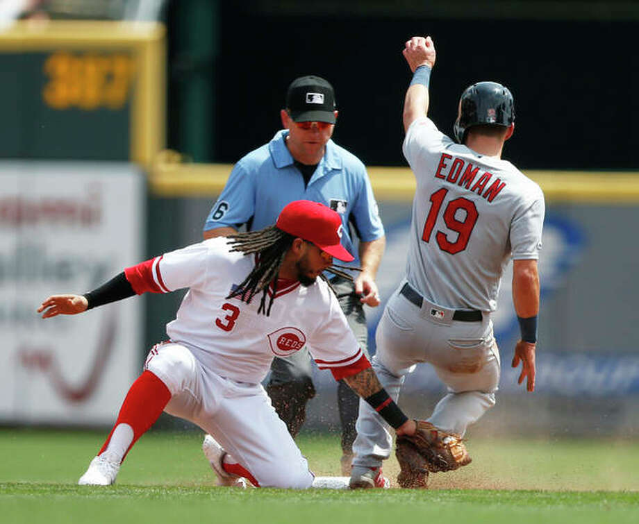 The Cardinals' Tommy Edman (19) is safe with a stolen base as Reds second baseman Freddy Galvis (3) attempts the tag during the first inning Sunday in Cincinnati. Photo: Associated Press