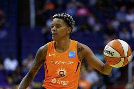 Connecticut Sun guard Courtney Williams dribbles the ball against the Phoenix Mercury on Wednesday in Phoenix. Williams scored 18 points in Sunday's 78-68 win over the Dallas Wings at Mohegan Sun Arena.
