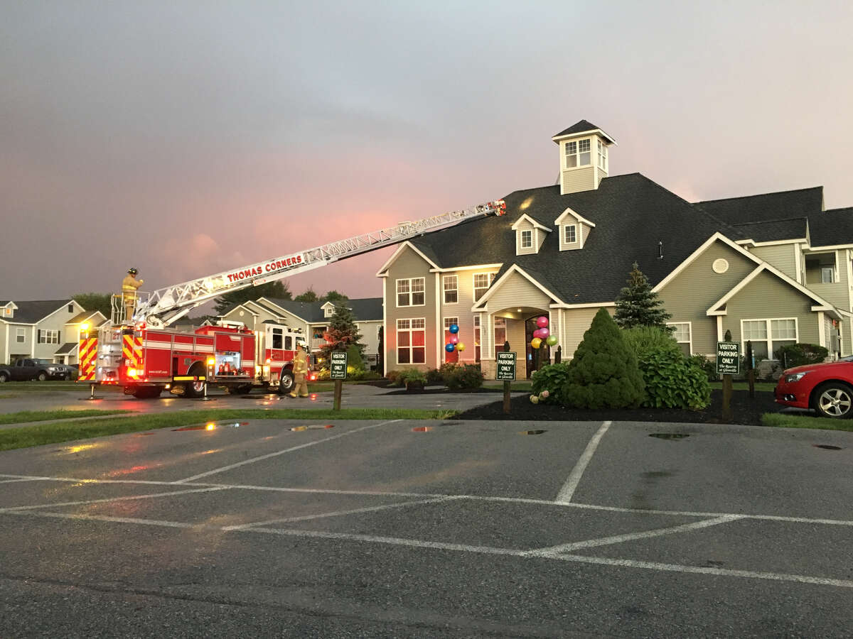 A fire truck outside Reserve Court in Glenville, where lightning struck the office (photo by Dave Toledano)