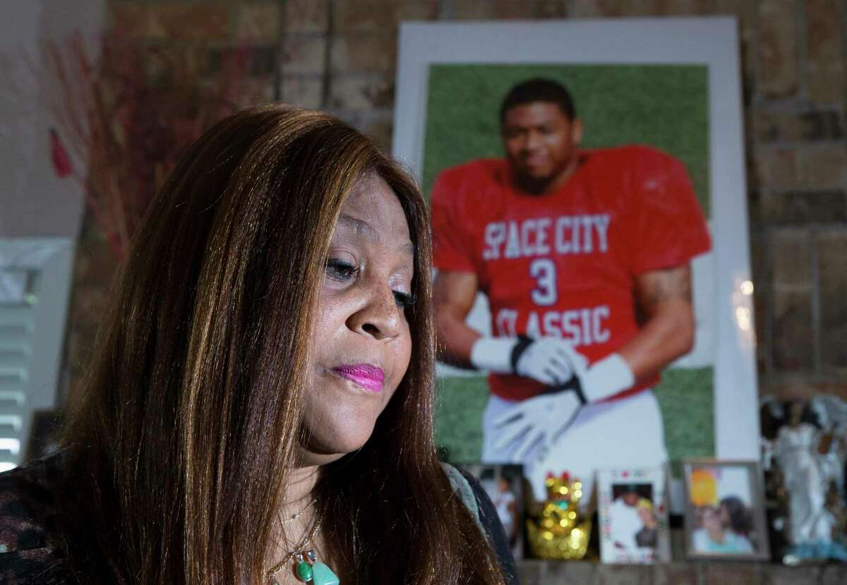Bennie Hunter-Hooey, 55, mother of Dan Hunter, takes a moment to reflect when she talks about her deceased son at the house he grew up in on Friday, Aug. 16, 2019, in Houston. Hunter, 28, was shot outside a night club on August 4.