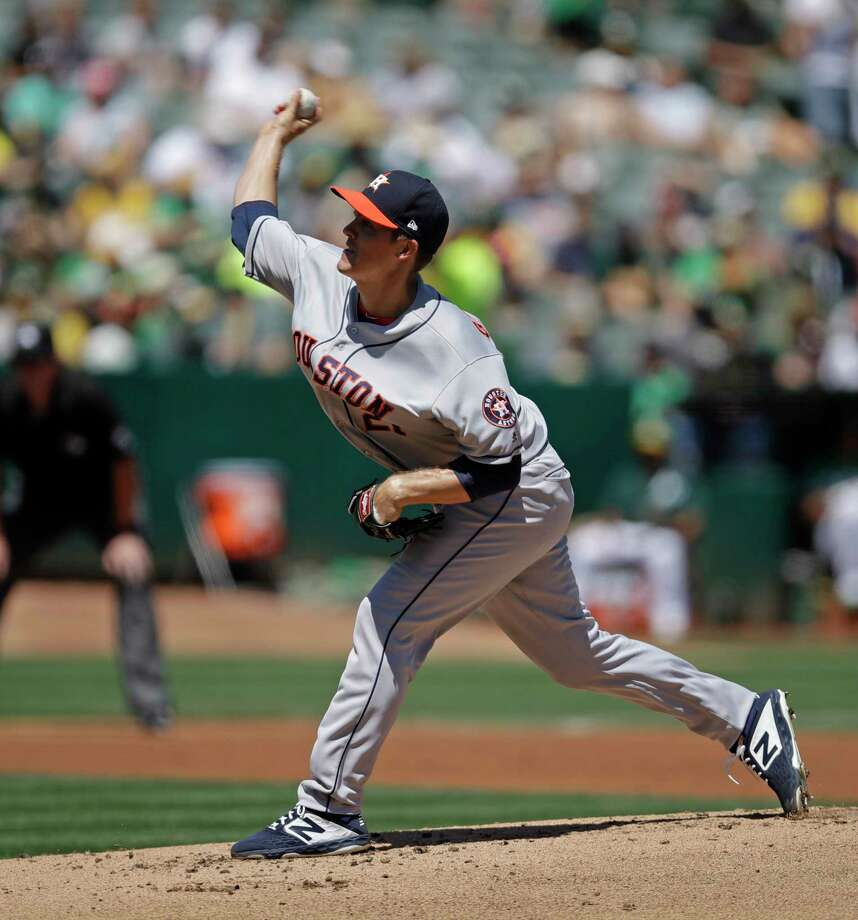 Houston Astros pitcher Zack Greinke works against the Oakland Athletics in the first inning of a baseball game Sunday, Aug. 18, 2019, in Oakland, Calif. (AP Photo/Ben Margot) Photo: Ben Margot / Copyright 2019 The Associated Press. All rights reserved.