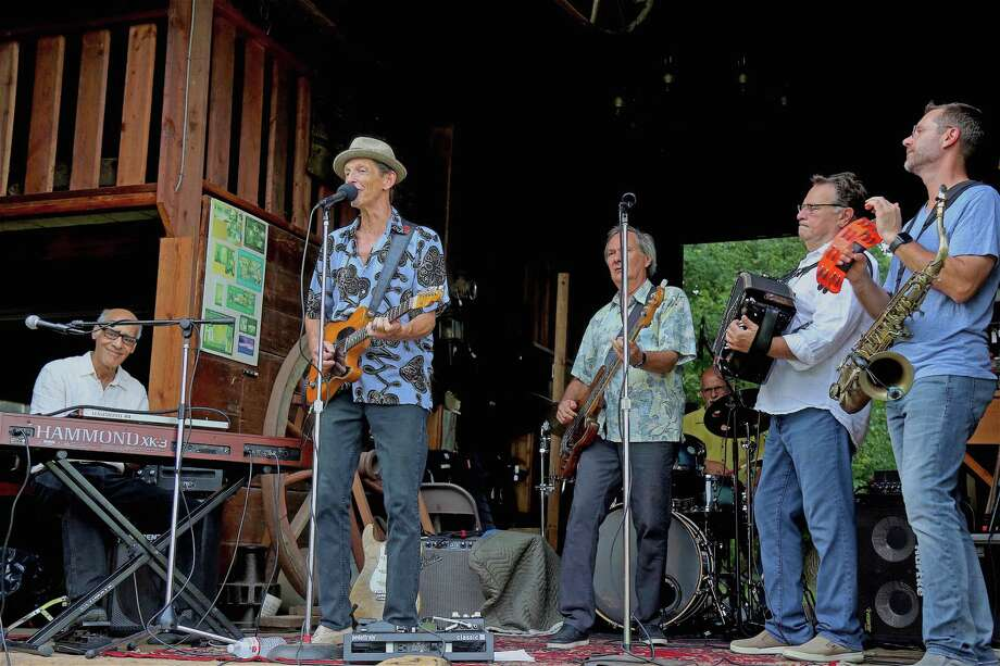 "Band members included, from left, Roy Rodriquez, Chris ""Otis"" Cross, Chris Bishop, Rick Quintanal, Joe Najmy, and Doug Bernstein, at the Weston Historical Society's Music at the Barn series, featuring Otis and the Hurricanes, on Sunday, Aug. 18, 2019, in Weston, Conn. Photo: Jarret Liotta / Jarret Liotta / ©Jarret Liotta"