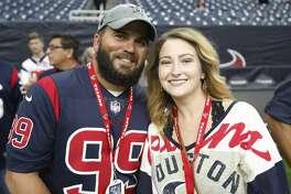 Houston Texans fans during an NFL preseason football game at NRG Stadium on Saturday, Aug. 17, 2019, in Houston.