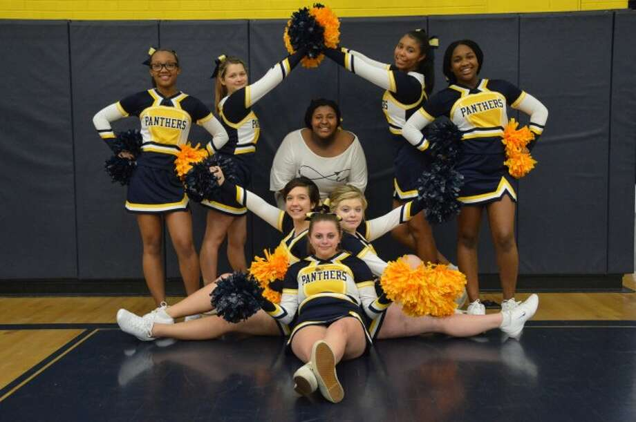 CHEER SQUAD: Back row left to right: Jayna Hawkins, Isabella Hibma, Giovanni Kennedy-Burrell, Nia Freeman. Front row left to right: Madison Simpson, Natalie Abbott, Drew Dykhuis. Center: Coach Heather Bragington