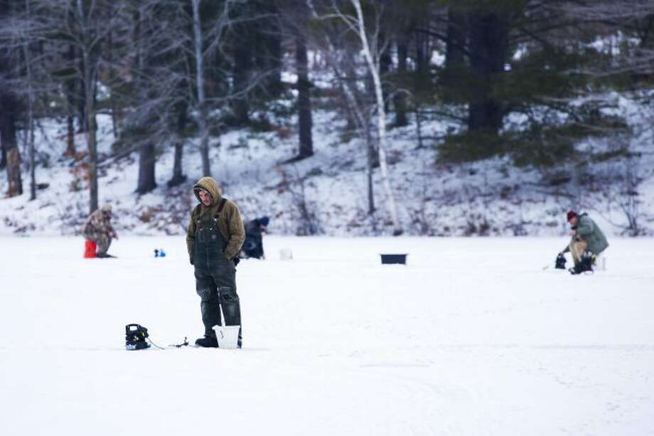 Ice fishing is popular at Haymarsh Lake, but anglers waited until late December to make sure the ice was safe. (Herald Review photo/John Raffel)