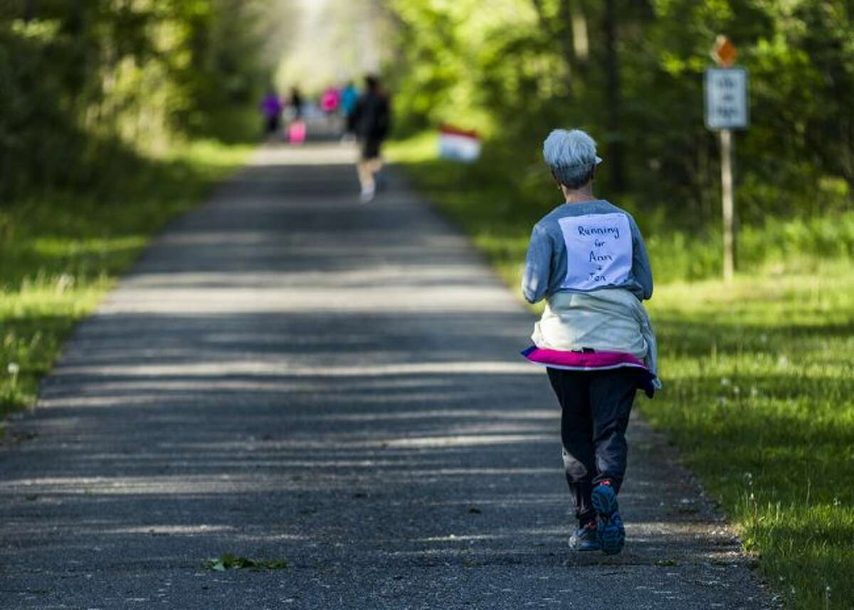 Cathy Johnson, of Big Rapids, runs the 10K in honor of loved ones during the 2017 Wheatlake Festival of Races. (Courtesy photo)