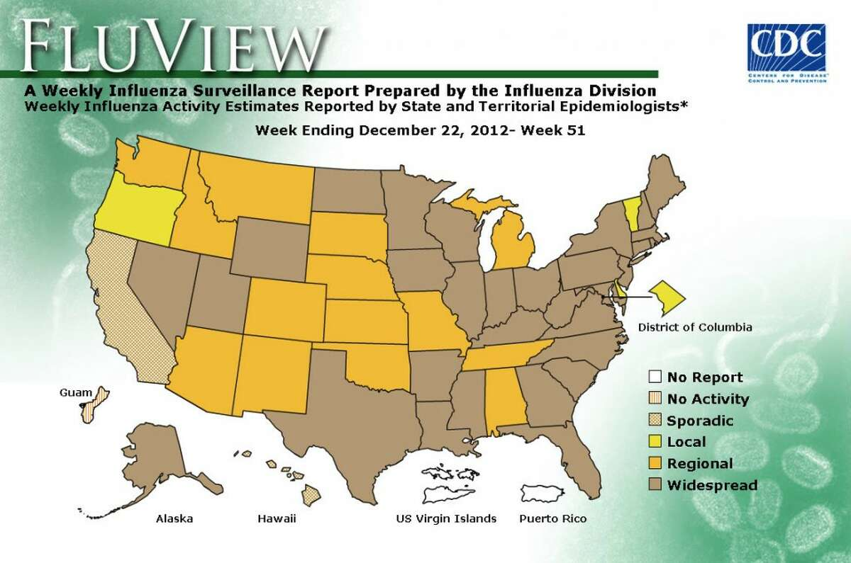 FLU FREQUENCY: The map shows how widespread the influenza virus is in each state, as of Dec. 22. (Courtesy graphic/Center for Disease Control)