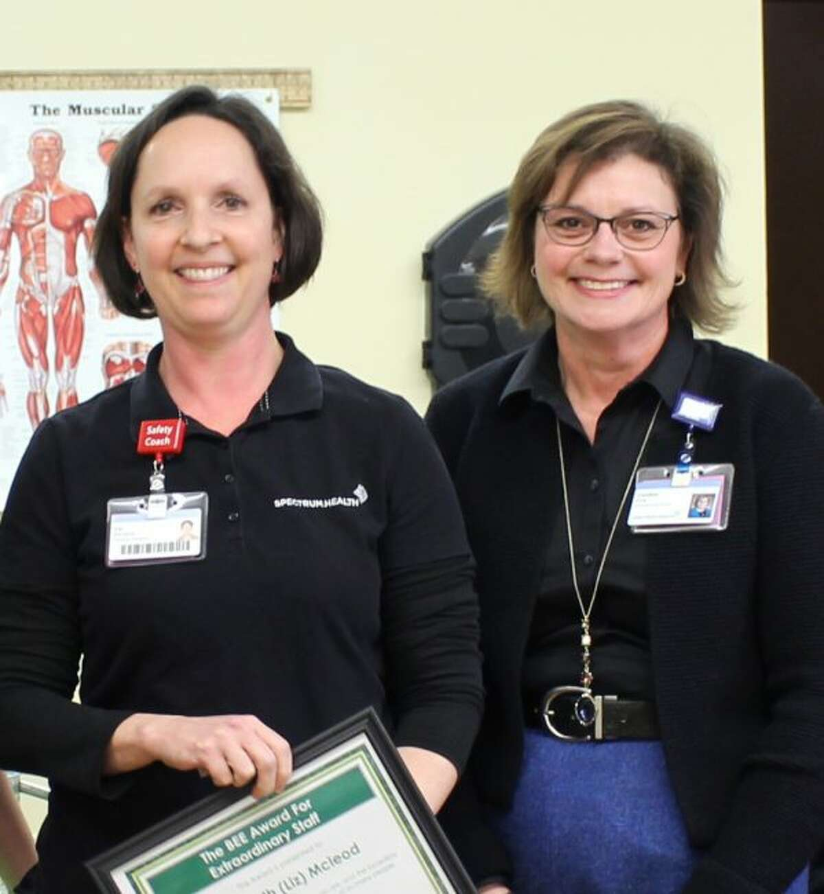 """Winner of the BEE Award, open to all staff members, was Elizabeth """"Liz"""" Mcleod, physical therapist at Big Rapids Hospital. Pictured with Mcleod is Caroline Ring. (Courtesy photo)"""