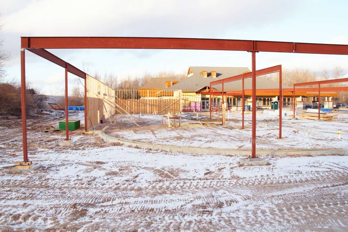 IN PROGRESS: Construction is underway for the Susan P. Wheatlake Regional Cancer Center in Reed City. Around $800,000 is left to be raised for the project. (Herald Review photo/Sarah Neubecker)