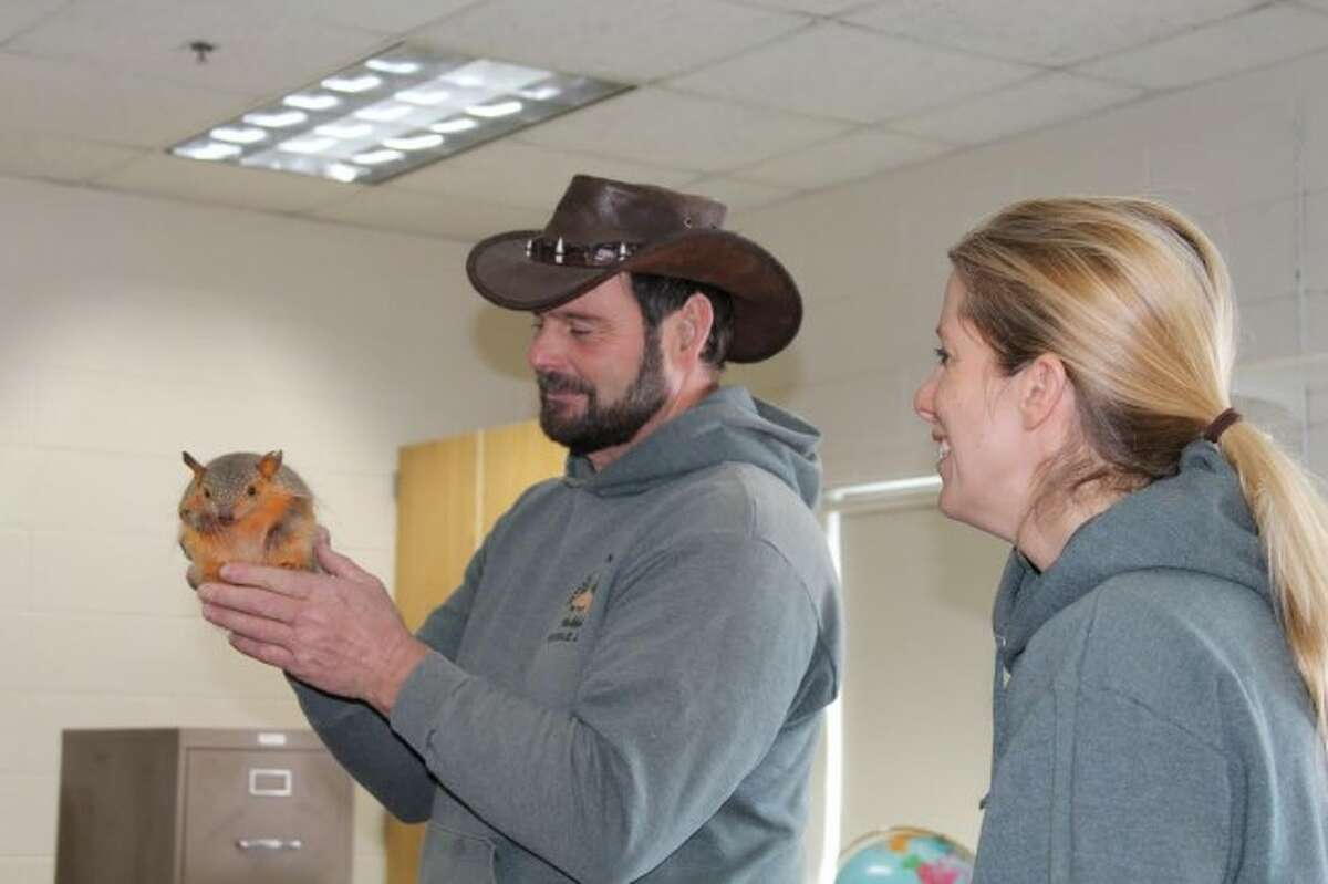 EXOTIC ANIMALS: Kirk Elya and Claudia Herrmann from Whispering Pines Mobile Zoo show Pam Bloom's class a hairy armadillo during their visit.