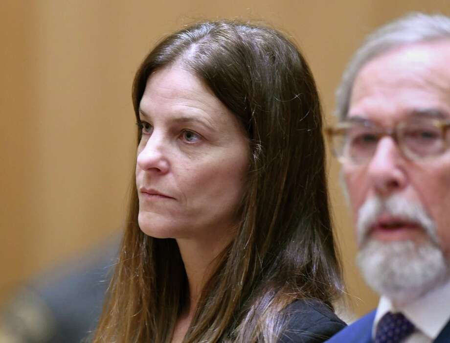 Michelle Troconis, 44, appears in court in August with her attorney Andrew Bowman in relation to her charges of tampering with evidence and first-degree hindering prosecution in the disappearance of Jennifer Dulos. Photo: Tyler Sizemore / Hearst Connecticut Media / Greenwich Time