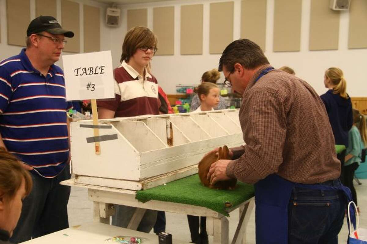 A judge examines a rabbit while its owners look on during Saturday's Osceola County Rabbit and Cavy Breeders Show at the Osceola County Fairgrounds.