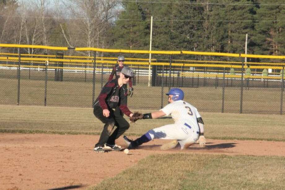 Billy Conklin slides safely into second base during the season.