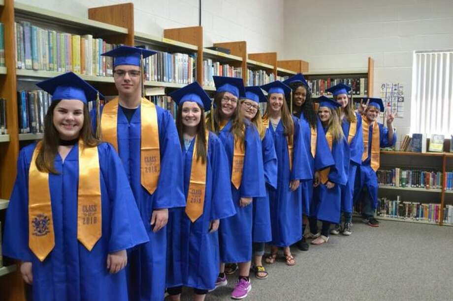 Evart High School officials recently named the 2018 top ten seniors. Honored students include (from front) Erin Flowers, Scott Whitman, Kaitlynn Gudding, Sara Rakowski, Skylar Johnson, Macey Wallace, Cyanna Dellar, Dana Vore, Hannah Tiedt and Jonah Smith. (Courtesy photo)