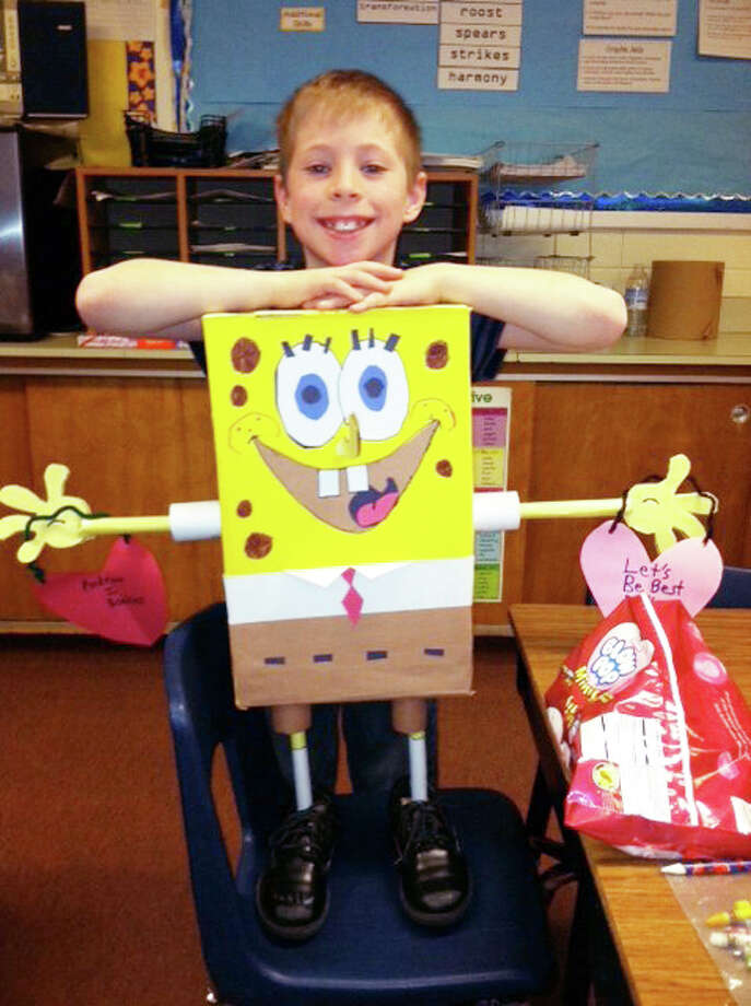 MOST CREATIVE: Andrew, a third grader in Valerie Hopkin's class at Evart Elementary, won first place in the Most Creative category with his Spongebob Squarepants Valentine box. (Courtesy photos)
