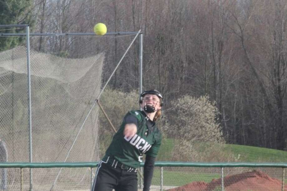 Shortstop KayLee Goodman makes a throw to first base in recent action.