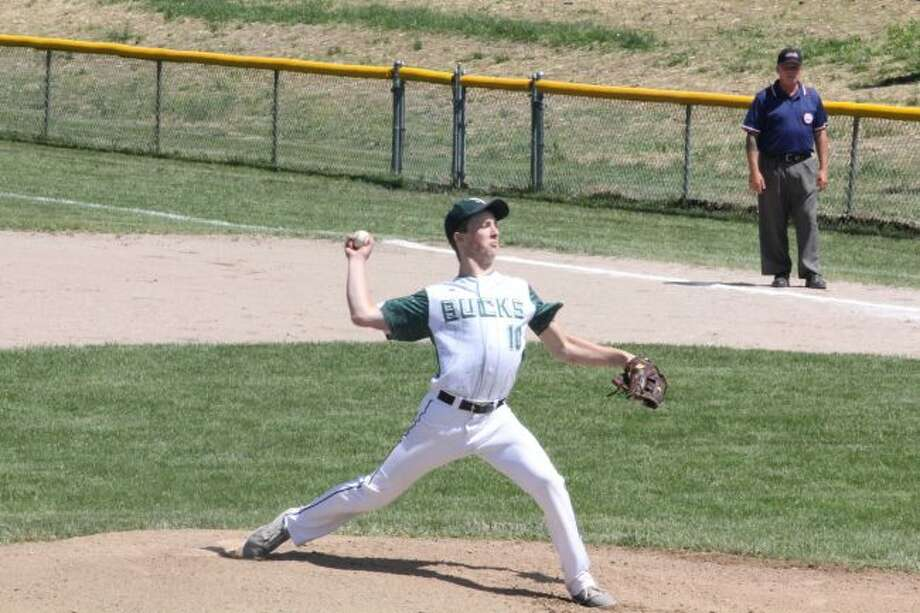 Pine River's Luke Hill delivers a pitch in the district tournament.