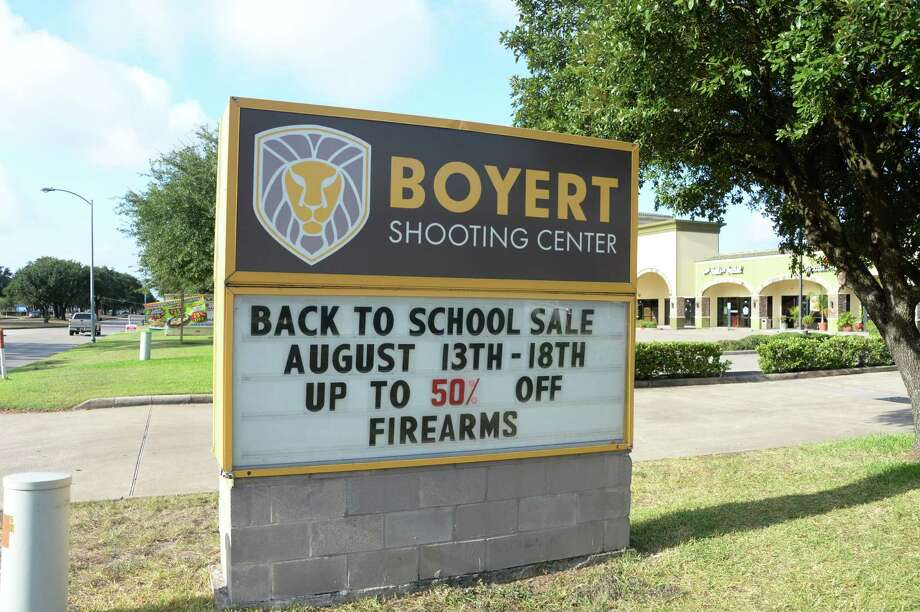 "Before it was taken down Tuesday, the Katy location's marquee sign read ""Back to school sale August 13 through 18. Up to 50 percent off firearms."" Photo: Craig Moseley, Staff Photographer / ©2019 Houston Chronicle"