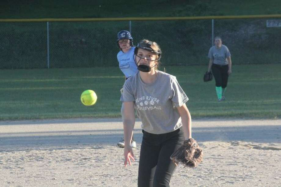 BUCKS PITCHER: Daria Lindquist throws a pitch for Pine River.