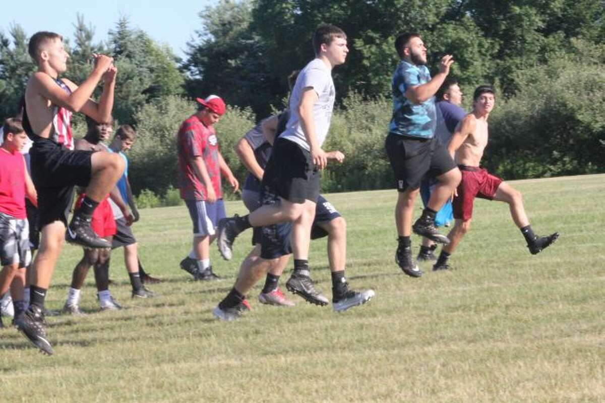 Reed CIty players work out during the summer.