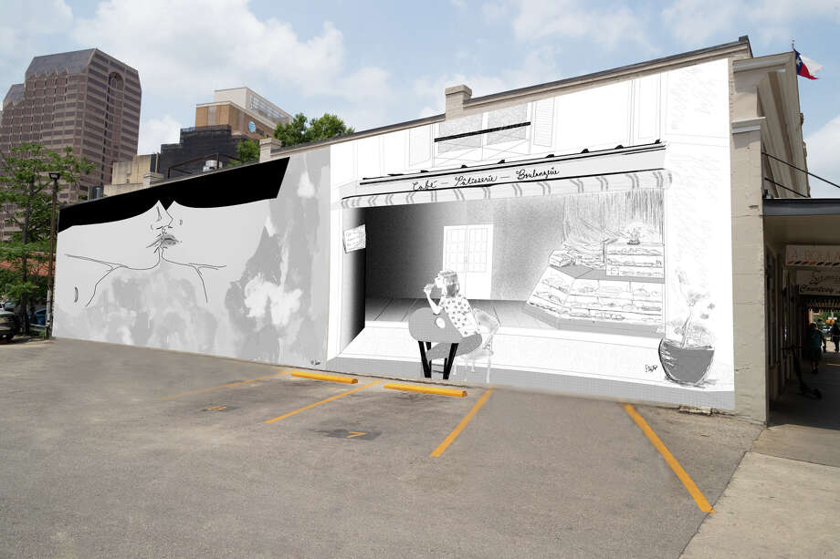 University of Texas at San Antonio graduate student Stephanie Niembro is the artist behind the future mural. Her illustrations — a couple who is inches from a kiss and an inside view of a French bakery — will greet customers who park at the 207 Broadway St. business. Photo: Courtesy, Centro San Antonio/Stephanie Niembro