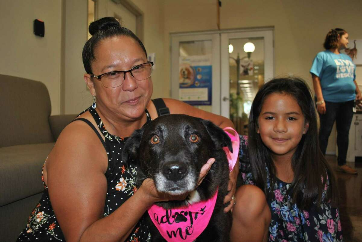 Aurelia Longoria and her granddaughter Adelynn Rodriguez picked up Cherish, a female lab/collie mix breed dog at a pet adoption event at the Pasadena Animal Shelter. Texas leads the nation in the number of cats and dogs killed at shelters.