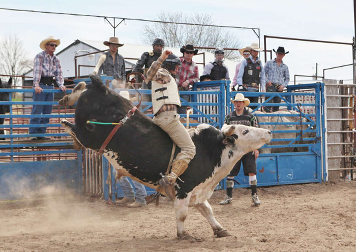 LONE STAR RIDER: Jade Seiber, of Lone Oak, Texas, rides a bull during Sunday's Reed City Rodeo competition. Seiber, who rides bulls competitively back home, happened to be in the area for work and decided to enter the competition.
