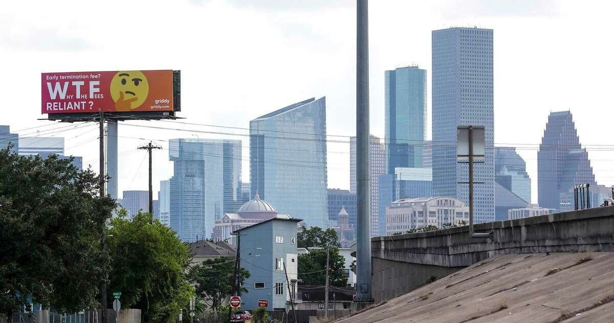 """Griddy, the California-based company that is selling wholesale power to Texans, is going head to head against Reliant Energy and TXU for market share. It put up a billboard """"WTF Reliant"""" on the edge of downtown off of I-10 East, near Gregg ,Monday, July 8, 2019, in Houston. Reliant is reportedly very upset about the sign that went up late last week and has told the sign company to remove it."""