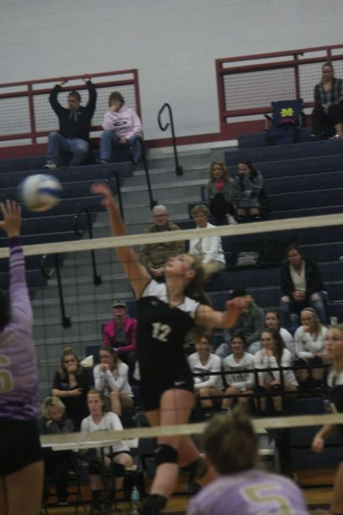 Alison Duddles makes a play at the net for Reed CIty.