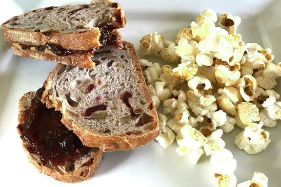 Almond Butter and Fig Jam Sandwich with kettle corn