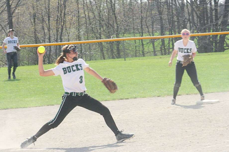 Softball: Pine River shortstop Kassy Nelson gets set to make a throw in recent action. (Herald review photo/John Raffel)