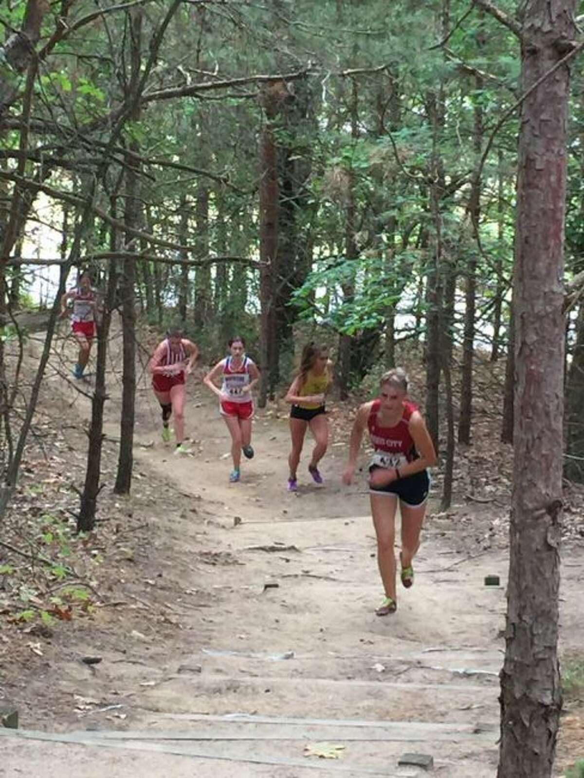 Reed City's Olivia Thompson works her way up a hill.