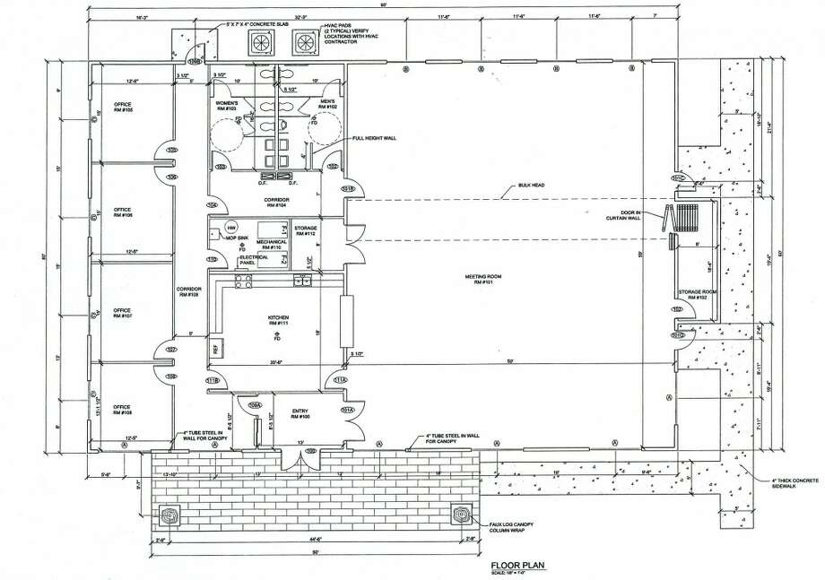 Floor plan: A concept design by JBS Contracting, Inc. of Mount Pleasant, shows an idea for the outside look of a new township hall. Construction of a new building has not been approved, but ideas are being circulated. (courtesy image)