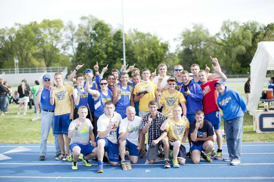Conference winners: Evart track team makes it two straight state titles. (Courtesy photo)