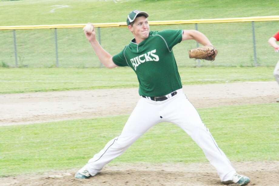 Baseball pitch: Tyler Lewis fires a pitch to the plate for Pine River during recent action. (Herald Review photo/John Raffel)