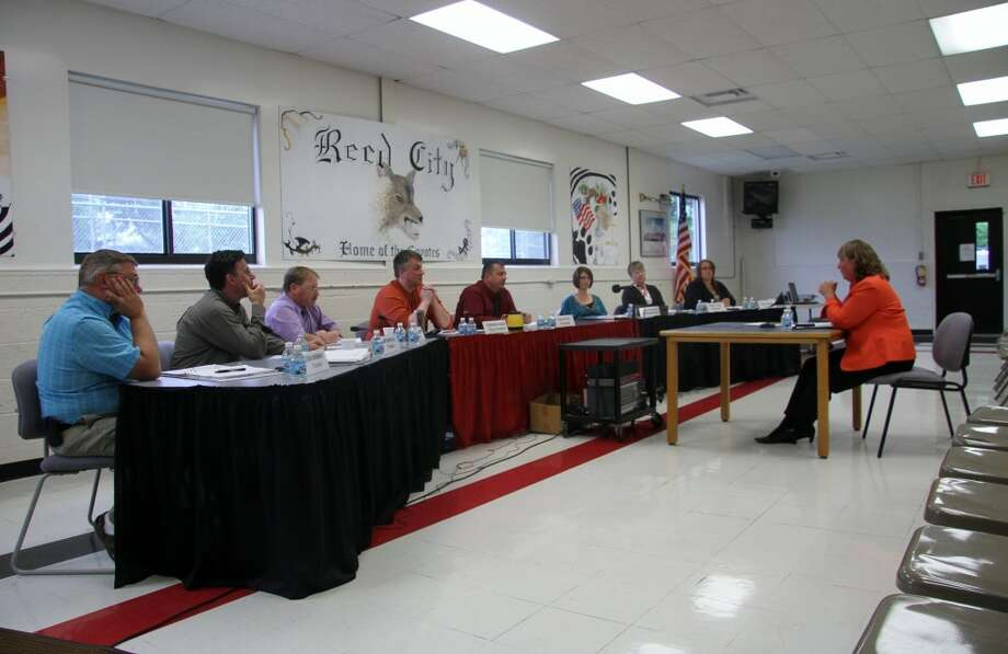 FIRST INTERVIEW: Reed City Area Public Schools board of education interviewed three of its six top candidates for superintendent on Wednesday. The other half of the interviews will be completed today, followed by second interviews with two finalists on Friday. (Pioneer photo/Lauren Fitch)