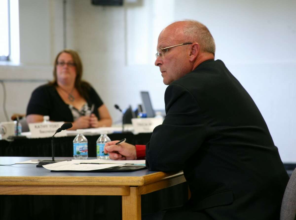 HOMETOWN ADVANTAGE: Tim Webster interviews with the Reed City Area Public Schools board of education on Friday. The board named Webster its top choice for superintendent, and they now enter into contract negotiations. (Pioneer photo/Lauren Fitch)