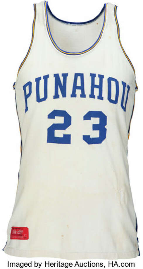 Barack Obama's high school basketball jersey was sold at auctions by Heritage Auctions. Photo: Emily Clements/HA.com / Copyright: 2018 Heritage Auctions