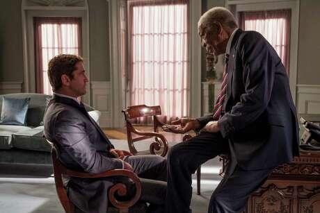 "Gerard Butler and Morgan Freeman in ""Angel Has Fallen."""