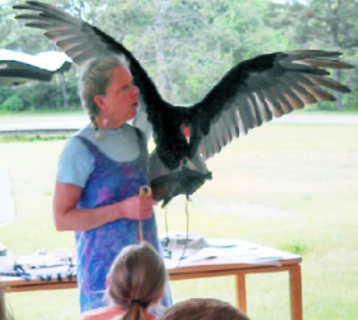 meeting raptors: Rebecca Lessard of Wings of Wonder, which is a non-profit raptor rehabilitation facility located in Empire, shows off a vulture while teaching attendees about the large bird. (Courtesy photo)