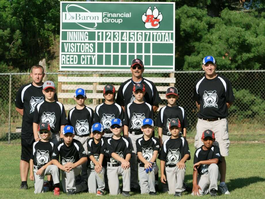 BASEBALL: The 9-10-year old Reed City-Evart minor division boys all-star team. Front row: (from left) Fischer Morrison, Brycen Shively, Pierce Johnson, Nate Sochocki, Danny Witbeck, Gavin Wirth and Isaiah Moore. Back row: Coach Ryan Hansen, Payton Hansen, Darren Gostlin, Ian Couch, Coach Tim Woodard, Jeffrey Samuels, Trevor Woodard and Coach Mark Sochocki. (Courtesy photo)