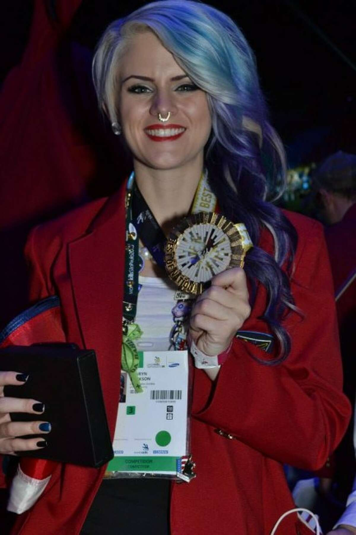 HONORS: Lauryn Erickson poses with her Best of Nation medal after competing at WorldSkills. The award is given to one competitor from each country's team.