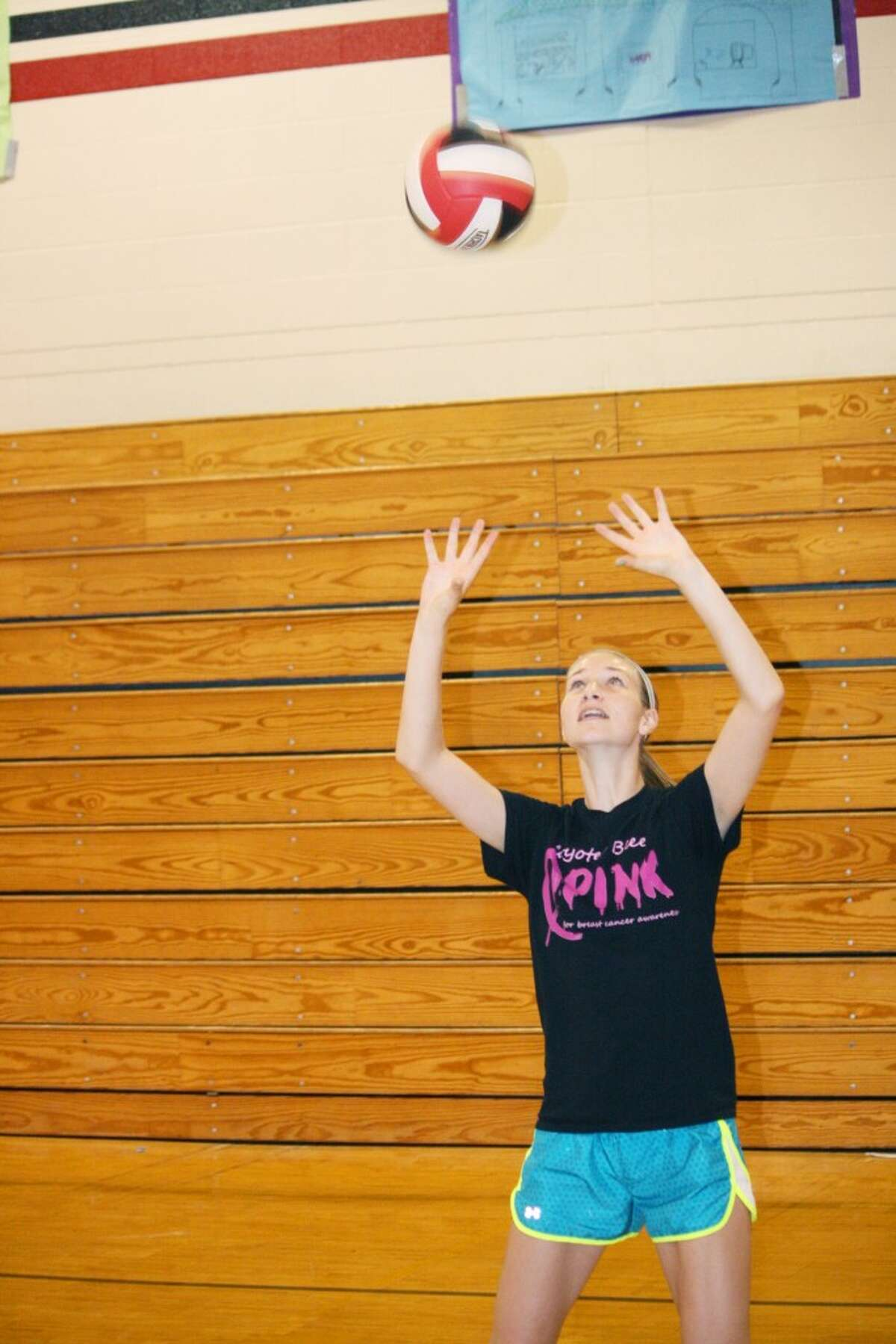 Volleyball: Alison Schermerhorn sets the ball during a Reed City volleyball practice. (Herald Review/John Raffel)
