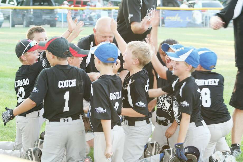 Little League: Reed City-Evart Minor Division players celebrate their win over Oakridge last week. (Courtesy photo)