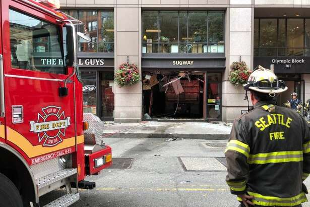 A dump truck crashed into a Subway sandwich shop in Pioneer Square on Monday. Four patients were transported to Harborview Medical Center.