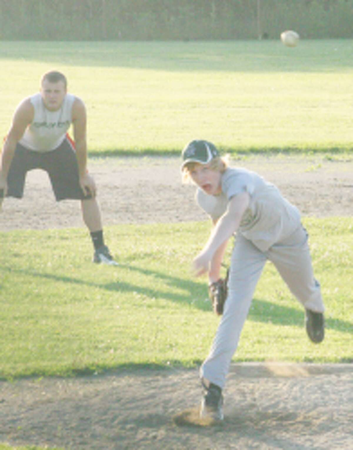 summer games: Payton Pacola delivers a pitch for Pine River during a recent summer game. (File photo)